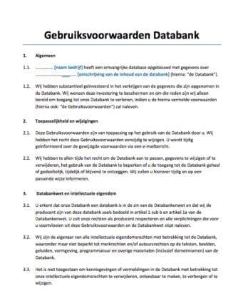 Gebruiksvoorwaarden databank