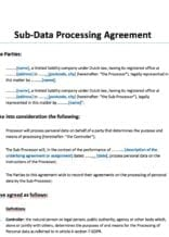 subverwerkersovereenkomst engelstalig (sub data processing agreement)