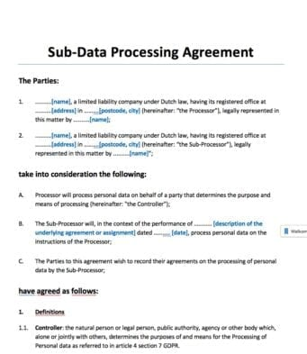 subverwerkersovereenkomst engelstalig (sub data processing agreement)