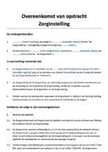Overeenkomst van opdracht zorginstelling intramuraal