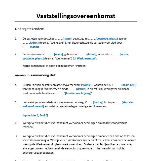 voorbeeld ontslagbrief werkgever wederzijds goedvinden Vaststellingsovereenkomst voorbeeld   Voorbeeldcontract.nl voorbeeld ontslagbrief werkgever wederzijds goedvinden