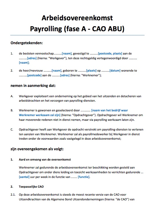 Arbeidsovereenkomst Payrolling ABU fase A