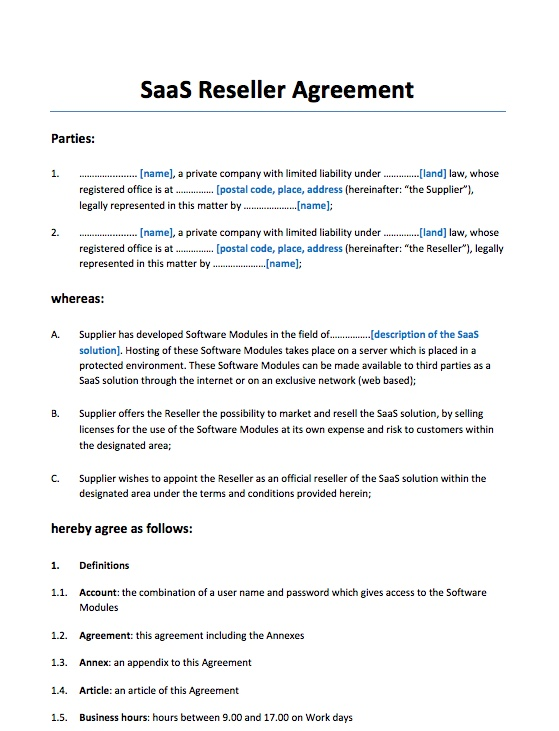 SaaS Reseller Agreement