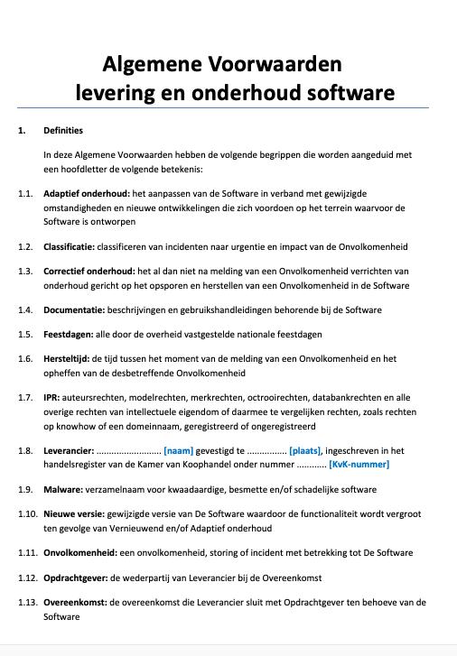Algemene Voorwaarden levering en onderhoud software