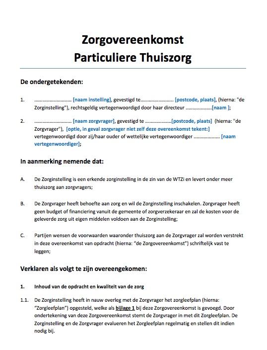 Zorgovereenkomst Particuliere Thuiszorg