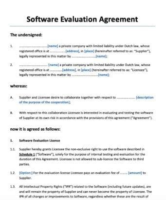 Software Evaluation Agreement software evaluatie en test overeenkomst
