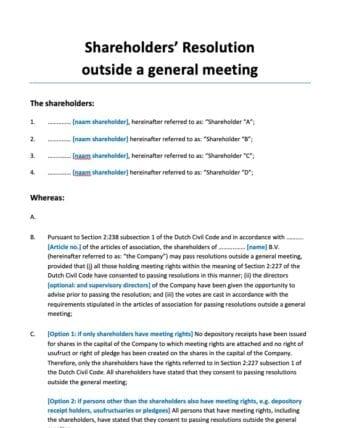 Aandeelhoudersbesluit buiten vergadering shareholders resolution
