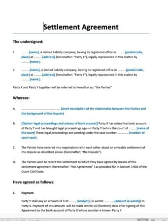 Vaststellingsovereenkomst beëindiging geschil settlement agreement