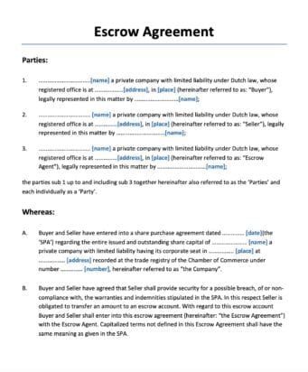 Escrow Overeenkomst Engelstalig Escrow Agreement
