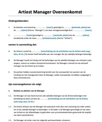 Artiest Manager Overeenkomst