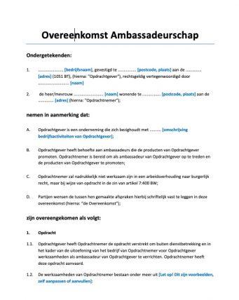 Overeenkomst Ambassadeurschap