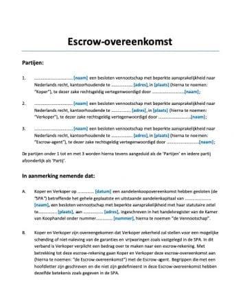 Escrow Overeenkomst