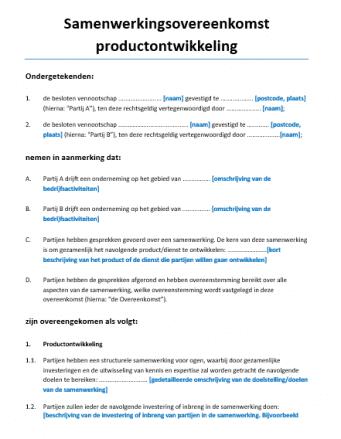 Samenwerkingsovereenkomst productontwikkeling