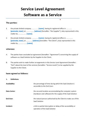 Service Level Agreement SaaS Engelstalig