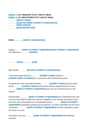 14-dagenbrief Engelstalig (aanmaning)