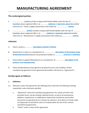 Manufacturing Agreement