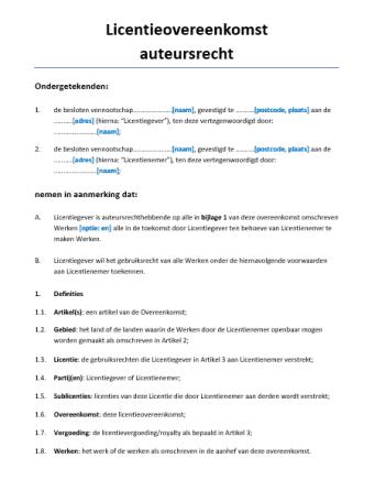 Licentieovereenkomst auteursrecht