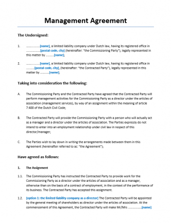 Managementovereenkomst Holding Engelstalig
