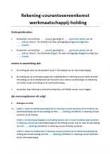 Rekening-courant overeenkomst Werkmaatschappij-Holding