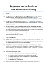 Reglement Raad van Commissarissen Stichting